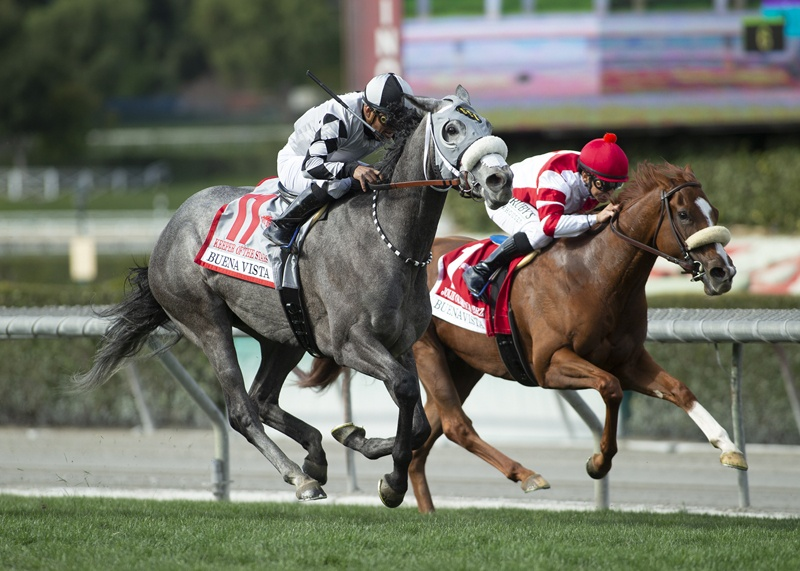 Tommy Town Thoroughbreds' Keeper Ofthe Stars and jockey Abel Cedillo, left, outleg Jolie Olimpica (Mike Smith), right, to win the Grade II, $200,000 Buena Vista Stakes, Saturday, February 22, 2020 at Santa Anita Park, Arcadia CA. © BENOIT PHOTO