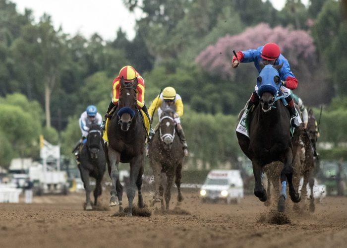 Mongolian Stable's Mongolian Groom and jockey Abel Cedillo win the Grade I, $300,000 Awesome Again Stakes, Saturday, September 28, 2019 at Santa Anita Park, Arcadia CA. © BENOIT PHOTO