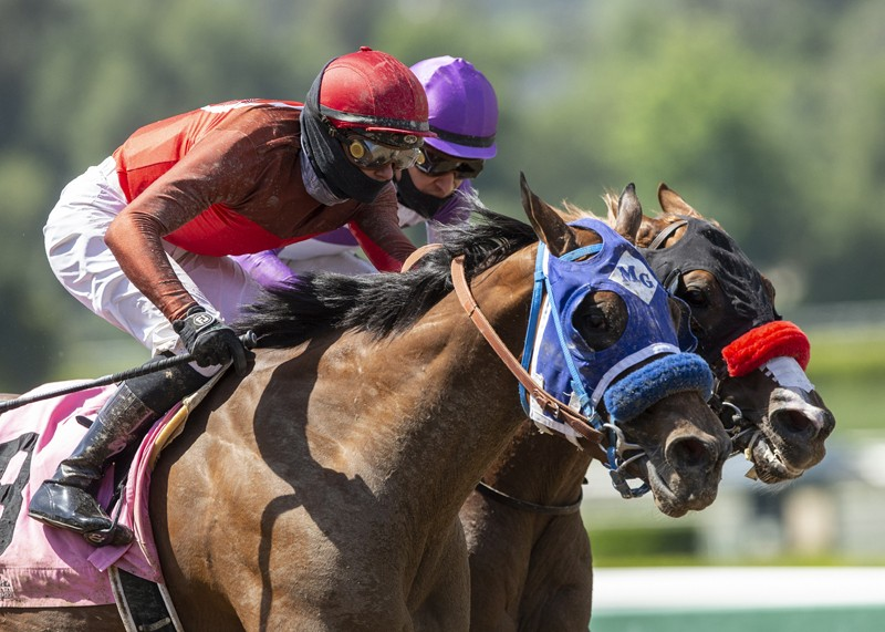 Big Sweep and jockey Flavien Prat, left, overpower Rookie Mistake (Mario Gutierriez), right, to win the $150,000 Echo Eddie Stakes, Saturday, May 16, 2020 at Santa Anita Park, Arcadia CA. © BENOIT PHOTO