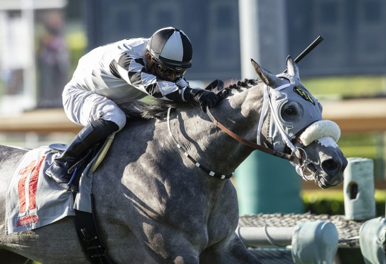 Tommy Town Thoroughbreds' Keeper Ofthe Stars and jockey Abel Cedillo win the Grade I, $300,000 Gamely Stakes, Monday, May 25, 2020 at Santa Anita Park, Arcadia CA. © BENOIT PHOTO