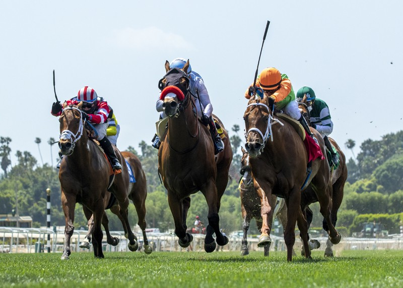 Wildman Jack and jockey Mike Smith, middle, outleg Sparky Ville (Geovanni Franco), right, and Texas Wedge (Flavien Prat), left, to win the $100,000 Dayton Stakes, Saturday, May 23, 2020 at Santa Anita Park, Arcadia CA. © BENOIT PHOTO