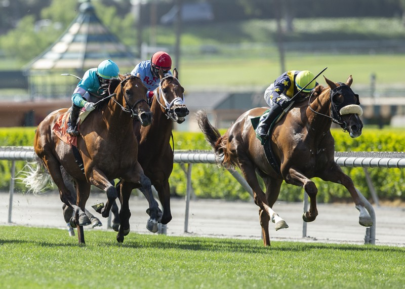 LNJ Foxwoods' United and jockey Flavien Prat, right, overpower Rockemperor (Irad Ortiz.), left, to win the Grade II, $200,000 Charles Whittingham Stakes, Saturday, May 23, 2020 at Santa Anita Park, Arcadia CA. © BENOIT PHOTO
