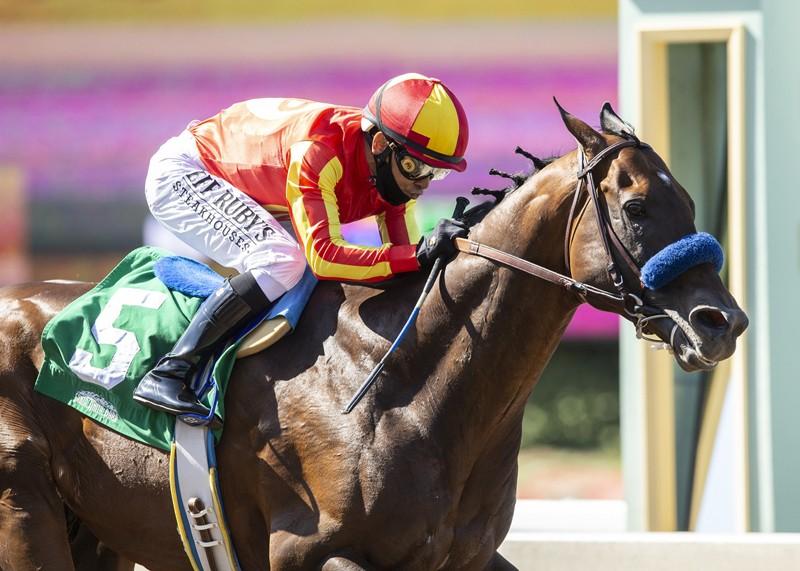 McKinzie and jockey Mike Smith win the Grade II, $200,000 Triple Bend Stakes, Sunday, June 7, 2020 at Santa Anita Park, Arcadia CA. © BENOIT PHOTO