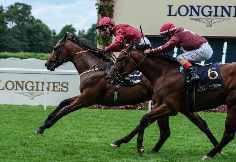 Photo of The Lir Jet (IRE), with Oisin Murphy up, winning the Norfolk Stakes, is courtesy of Racenews.