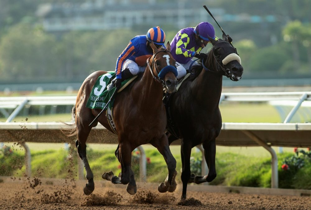 Maximum Security and jockey Abel Cedillo, left, overpower Midcourt (Victor Espinoza), right, to win the Grade II, $150,000 San Diego Handicap, Saturday, July 25, 2020 at Del Mar Thoroughbred Club, Del Mar CA. © BENOIT PHOTO