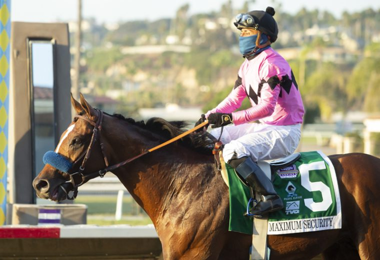 Jockey Abel Cedillo guides Maximum Security to the winner's circle after their victory in the Grade I, $500,000 TVG Pacific Classic, Saturday, August 22, 2020 at Del Mar Thoroughbred Club, Del Mar CA. © BENOIT PHOTO