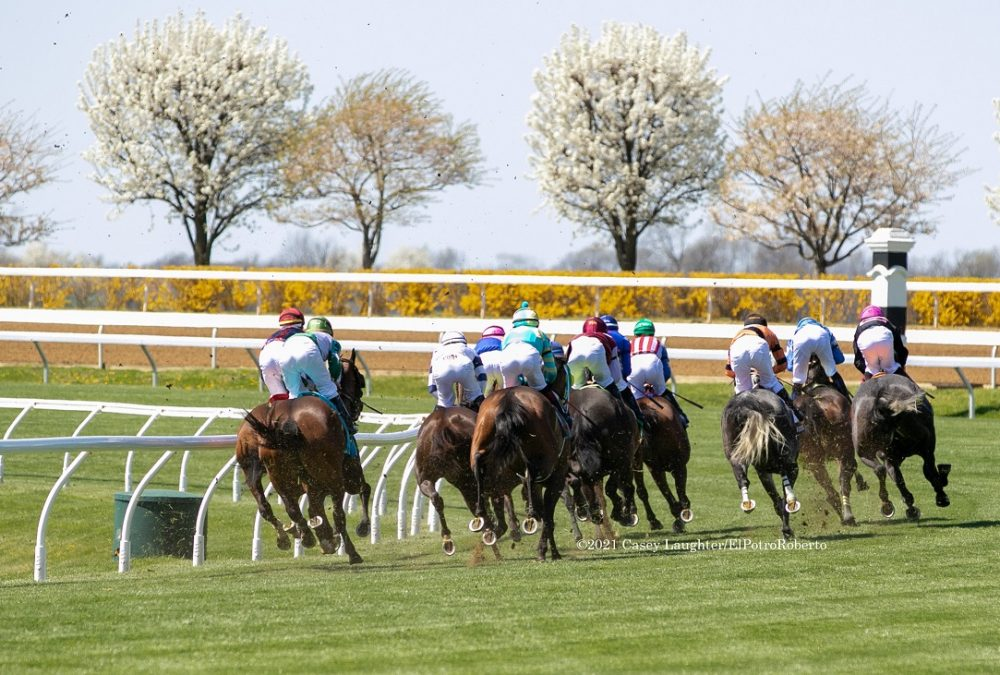 The field for race 4 at Keeneland head into the first turn, April 3, 2021.